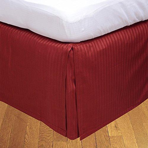 BudgetLinen 1pcs Box Jupe plissée de lit(Bourgogne A_Rayures,Petite Chambre Double (4 pi x 6 pi 3\