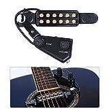 Silenceban Gitarren-Tonabnehmer mit 12 Schalllöchern für Akustikgitarre, magnetischer Vorverstärker mit Ton und Lautstärkeregler, Kabellänge: 3 m