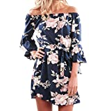 Heiß! Damen Kleid Yesmile Frauen Frühling Sommer Lose Halbe Hülse Minikleid Blumendruck Bowknot Ärmeln Cocktail Minikleid Casual Party Kleid (L, Blau-A)