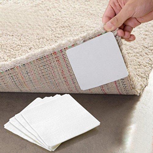 Kanzd 4PC Teppich Pad Rutschfeste Aufkleber Tri Anti Rutsch Matte Pads Rutschfeste Aufkleber Teppich Verankert Weiß