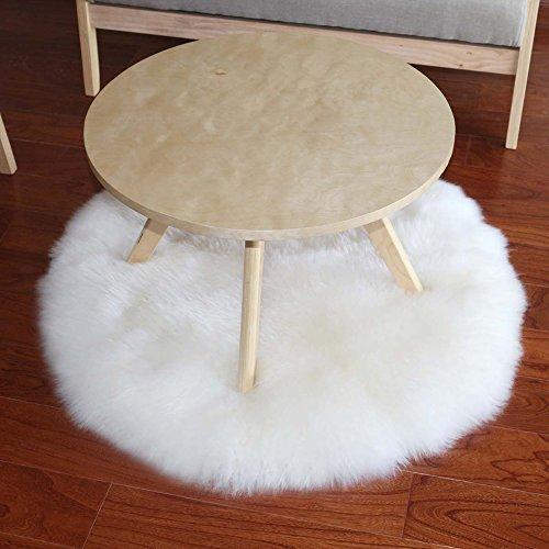 Rund waschbar Kunstfell länglichen Schaffell Teppich Luxus Faux Schaffell Sitzbezug Stuhl/Couch/Bett, Vorleger Super Soft Fußmatte Teppich Bereich Teppiche, weiß, 120 cm (Faux-pelz-luxus-werfen)