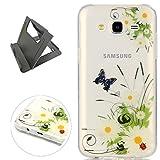 Keyye Samsung Galaxy J7 2015 Hülle, Transparent Weiche Silikon Schutzhüll Kratzfest Gummi Weich Kristal TPU Schutzhülle Skin Shell mit bunten Muster Design-schmetterling daisy
