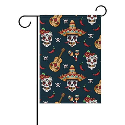 alloween Thanksgiving Day Autumn Fall Skull Garden Yard Flag Banner for Outside House Flower Pot Double Side Print 12x18 inches ()
