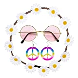 Widmann 95718 - Hippie Set Blumenhaarband, Ohrringe und Brille