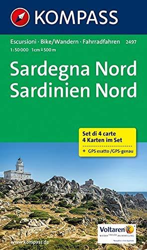 Sardegna Nord - Sardinien Nord: Wanderkarten-Set. GPS-genau. 1:50000: 4-delige Wandelkaart 1:50 000 (KOMPASS-Wanderkarten, Band 2497) (Abdecken Räder)