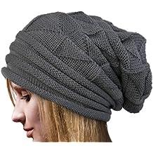 elevin (TM) mujeres invierno otoño gorro de Crochet lana Knit Beanie  caliente Cap - 22d2cb9d822