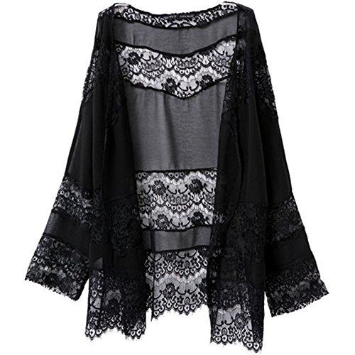 WOCACHI Frauen-Spitze-Splicing Hohle Chiffon Kimono Cardigan Bluse Mantel Tops (L, Schwarz)