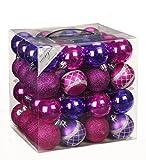 64 Christbaumkugeln 6cm Kugelbox Kunststoff bruchfest // Dekokugeln Weihnachtskugeln Baumkugeln Baumschmuck Set Inge-Glas Plastik PVC 60mm (Pink-Purple)