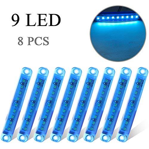 8 x Blu Luce Laterale 9 LED 12-24V Luci di Posizione Indicatore Universale per Camion Camper Auto Caravan 3,9' Impermeab