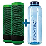 filwatec Carbonit GFP Premium-9 2 Stück I Wasserfilter Carbonit SanUno + Vario-HP I TÜV geprüft Aktivkohlefilter I Trinkflasche