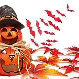 JiaMeng Ferienartikel 12 sätze von Stereo Bat wandaufkleber, 3D DIY PVC Bat Wandaufkleber Aufkleber Home Halloween Dekoration (Einheitsgröße, rot)