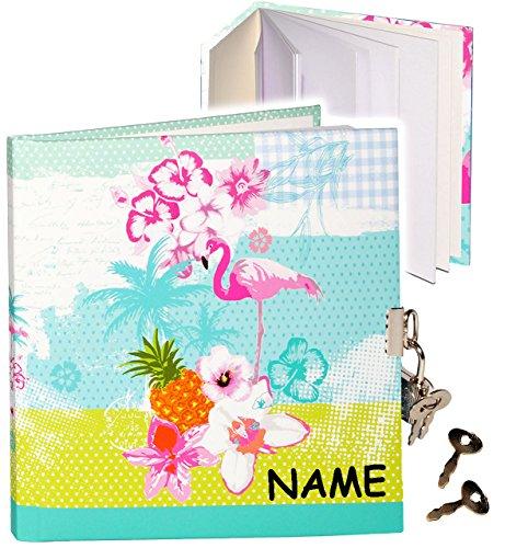 alles-meine.de GmbH Tagebuch mit Schloss -  Flamingo & Hibiskus Blume - Hawaii  - incl. Name - blanko weiß - Dickes Buch gebunden - 96 Seiten - für Geheimnisse Reisetagebuch / ..
