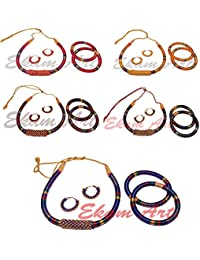 Ekam Art Multicolor Silk Thread Necklace Earrings Set With Bangle Set For Girls Lot Of 5 Sets Gift For Girls