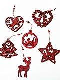 Kit di 6 forme appendini in legno traforati per albero di natale, 1 per tipo, colore rosso, bordeaux, dimensioni misura 10 cm, renna renne, gioielli, regalo Natale, cuore, angelo angeli cupido, stella