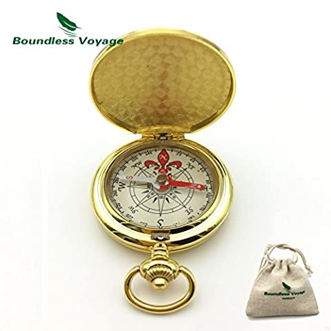 Outdoor Camping Flip Open Portable Compass Multi-funtional Mini Fluorescence Compass Hiking Navigation (Solid Gold Taschenuhr)