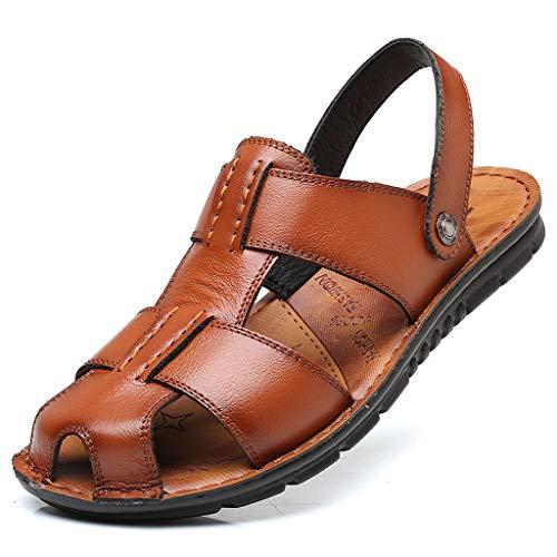 Dtuta Sandalen Herren Sommer, Ledersandalen Atmungsaktiv Gezeiten Outdoor Strand Schuhe Herren Bequem Leichtgewicht rutschfest Freizeitschuhe Hausschuhe -