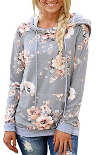 Angashion Damen Hoodies Langarm Kapuzenpullover-Blumenmuster Casual Sweatshirt Pullover Bluse Oberteile- Gr. EU M(36), Hell Grau