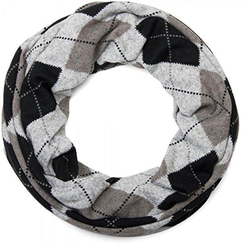 styleBREAKER Feinstrick Loop Schlauchschal mit klassischem Karo Muster in meliertem Vintage Look, Unisex 01018083, Farbe:Grau-Schwarz