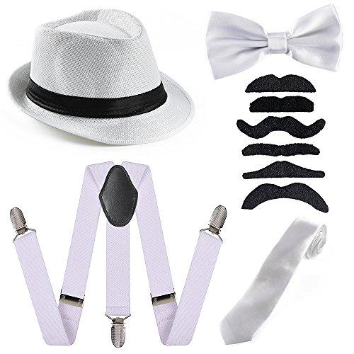 (Beelittle 1920 Mens Accessory Set Manhattan Hut, Y-Rücken Hosenträger, Gangster Krawatte, Spielzeug gefälschte Puff Cigar)