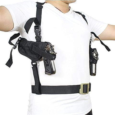 NIANPU Tactical Universal Doppel Ziehen Schulter Holster verdeckter jeden Tag tragen Dual Pistole Holster Tasche vollständig Verstellbare beidhändig tragbar unter dem Arm Horizontal Pistolen