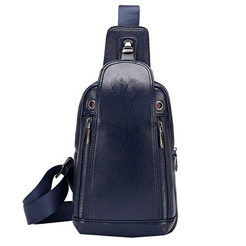 Yy.f Neue Herrentasche Herren-Ledertasche Brust Schulter Diagonal Multifunktionales Anti-Diebstahl-Tasche Praktische Interne Mehrfarbige Blue
