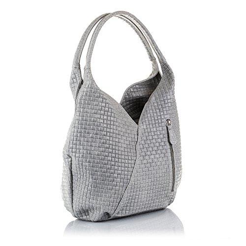 FIRENZE ARTEGIANI Women's Shopping Bag Genuine Leather Embossed Geometric HandbagMade In Italy.Real Italian leather.33x 33x 18cmColour:Light Grey.