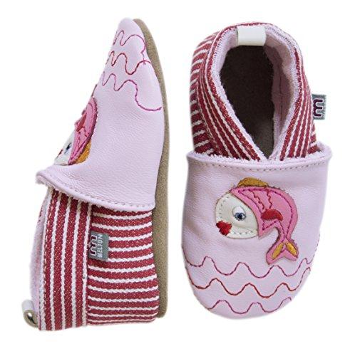 Melton Krabbelschuh Fischlein, Chaussons pour bébé bébé fille Multicolore - Mehrfarbig (Baby pink 504)