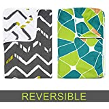 Divine Casa Polyester Reversible Striped and Geometric Single Dohar/AC Blanket, 140 x 210 cm or 55 x 82 inch, Grey and Green -Set of 2