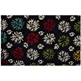 Handicraft-Palace Floral Printed Sanganeri Print Home Decor Craft Fabric Dress Making Voile Soft Fabric Hand Block Print Running Natural Fabric (Black_2.5 Meter)
