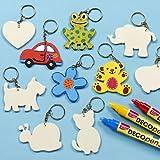 Blanko-Schlüsselringe aus Holz für Kinder zum Dekorieren - Geschenk zum Muttertag - Vatertag - 10 Stück