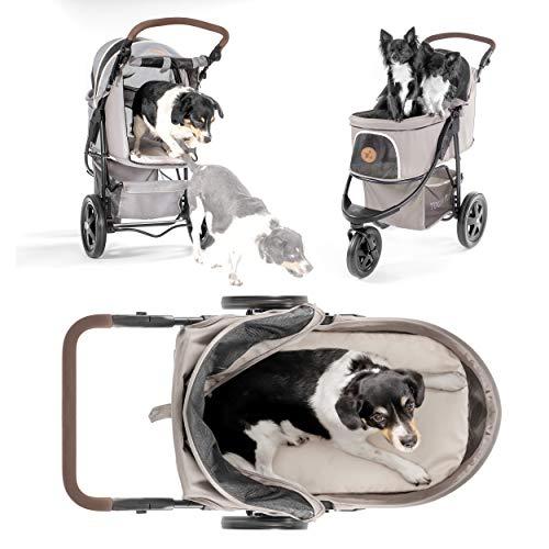 TOGfit Pet Roadster - Poussette pour Chien, Chat, Animaux & Chariot pour Chien jusqu'à 32 kg - Grandes Roues, Guidon variable en Hauteur, Compact et Pliable avec Matelas inclus - Gris