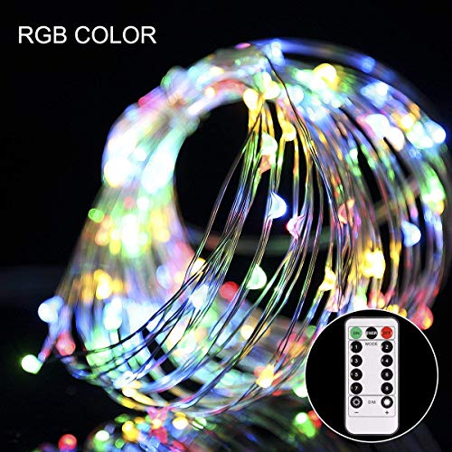 Lichterkette Batterie 100 Led kupferdraht RGB mit Fernbedienung bunte flexible Kupfer Drahtlichterkette Batterienbetrieben Lichterkette Innen für Weihnachten Deko Party Bar Hochzeit