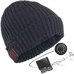 HK Bonnet Bluetooth Stéréo - Thermique avec Casque intégré, Microphone, Kit Main-Libre et Batterie Rechargeable Compatible iPhone, iPad, PC, Tablettes, Smartphones etc,darkgray