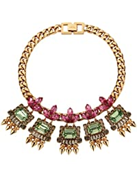 Mawi London Geometric Gemstone Necklace with Crystals Leafs and Spikes 21cm