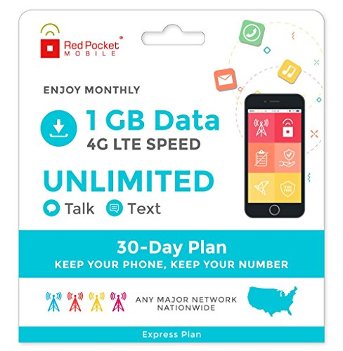 Red Pocket Mobile Express 30 Day Prepaid Phone Plan, No Contract, SIM Kit; Unlimited Talk, Unlimited Text & 1 GB of LTE Data