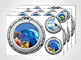 GRAZDesign 401000_4 Wandsticker Unterwasserwelt | Wandtattoo Bullaugen | Sticker Set für Badezimmer/Badfliesen (DIN A4 (4Stück))