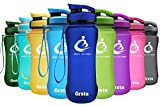 Grsta Sport Trinkflasche 20oz-600ml - Wasserflasche Auslaufsicher, Eco Friendly BPA Frei Tritan Kunststoff Flaschen mit Frucht Filter, Sporttrinkflasche für Kinder, Gym, Yoga, Laufen, Camping, Büro (Marine)