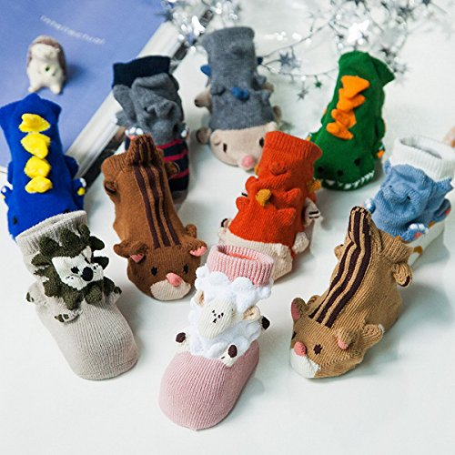 Ahatech Hiver Chaussettes Bébé Filles Garçons Chaussons 3D Cartoon Animal Mignon Antidérapant 2 Paires Couleur Mélangée