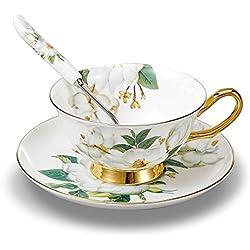 Set da caffè e tè in porcellana con tazza in ceramica con piattino, camelia, bianco e verde, Porcellana, 1 Pcs with Gift Box,Coffee Cup, White&Green 1 Pcs