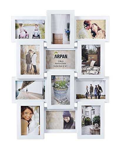 arpan-multi-apperture-picture-photo-frame-holds-12-x-6x4-photos-ideal-gift-white