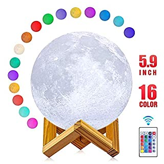 Moon Lamp, AmazeFan 16 Colors 3D Printing Moon Night Light with Stand & Remote & Touch Control and USB Rechargeable, Best Gifts for Baby Kids Lover Birthday Party Christmas (Diameter 5.9 INCH)