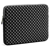 Evecase Housse Protection Horizontale en Néoprène avec Gaufrage de diamant et l'intérieur en Velours, Résistent à l'eau, Anti-Choc 13.3'-14' pouces pour Ordinateur Portable, Laptop, Notebook, Tablette, Chromebook, Ultrabook, Apple iPad, Samsung, Sony, Dell , Acer, Asus, Fujitsu, Lenovo, HP, Toshiba – Noir