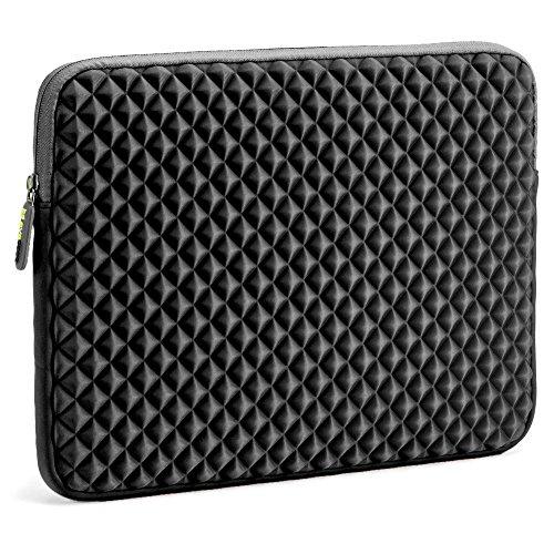 Laptophülle, Evecase Universal Neopren Anti-Schock Laptop Schutzhülle mit Rautenmuster / Diamant-Muster Schaumpolsterung für 14 Zoll Notebook - Schwarz - 373 x 280 x 30 mm