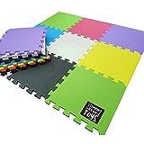 Stomping Ground Toys™ - 18dalles de sol en mousse pour enfant tapis d'activité colorées à imbriquer