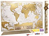 Grande Carte du Monde à Gratter Édition de Luxe - Planisphère à Gratter - 10 000 Villes et Endroits À Marquer