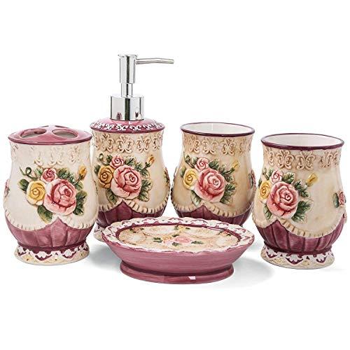 PEHOST Badezimmer Accessoires Set Keramik Retro Blume,WC-Garnitur Badaccessoires,5-teilig,2 Zahnputzbecher.1 Zahnbürstenhalter,1 Seifenspender,1 Seifenschale