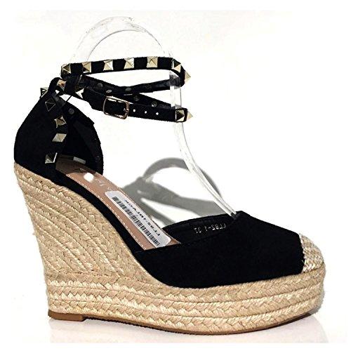 Trendige Damen Riemchen Keil Sandaletten Pumps Keilabsatz Wedges High Heels  Schuhe Bequem KA1 Schwarz 2
