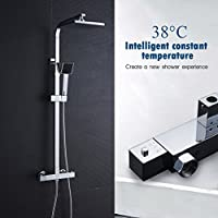 Auralum® Quadratisches Design Thermostatische Duschsystem Thermostat-Duscharmatur Duschset geeignet für Badezimmer & Dusche & Balkon & Garten