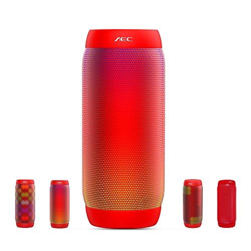 LED Lautsprecher, HUMTUS Wireless Bluetooth Lautsprecher, HIFI Lautsprecher Tragbarer Stereo Lautsprecher USB Charging 6 Lichtmodus mit NFC Freisprechanruf FM Radio TF Kartenspieler (Rot)