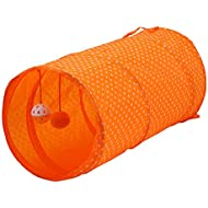 Fliyeong Premium Quality Pet Cat Tunnel Collapsible Play Toy Tube Fun for Rabbits,Kittens,and Dogs Orange Pet Supplies